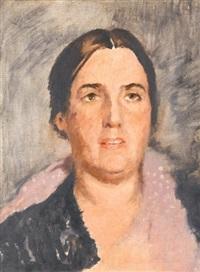 portrait of the artist's wife, ekaterina petrovna samokhvalova by alexandr nikolaevich samokhvalov