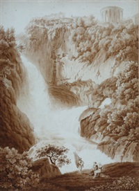 die grotte des neptuns mit den tempeln der vesta und sibylle in tivoli (+ another, etching; 2 works) by friedrich wilhelm gmelin