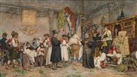 italienisches kircheninterieur und dorfgesellschaft nach einer prozession by augusto corelli