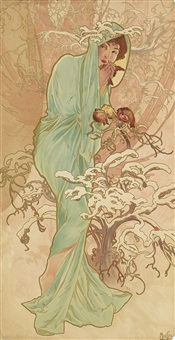 the seasons (group of four decorative panels) by alphonse mucha