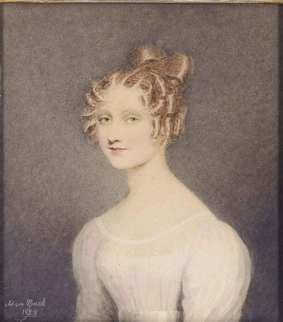 portrait of janet turnbull wearing a white muslin dress by adam buck