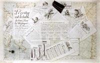 un trompe l'oeil de partitions et documents imprimés posés sur une carte géographique by c.l. van acker