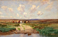 cows approaching a river by thomas allen
