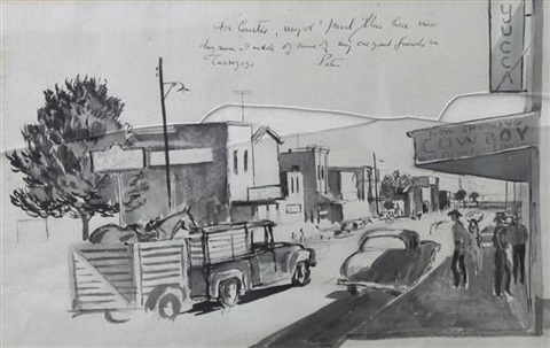 scene in a western town by peter hurd