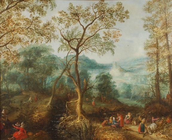 paysage boisé animé de voyageurs marchands et chasseurs by david vinckboons