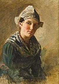 kvinna i hembygdsdräkt by ferdinand fagerlin