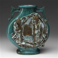 flattened baluster vase with two asian figures in high relief by fantoni