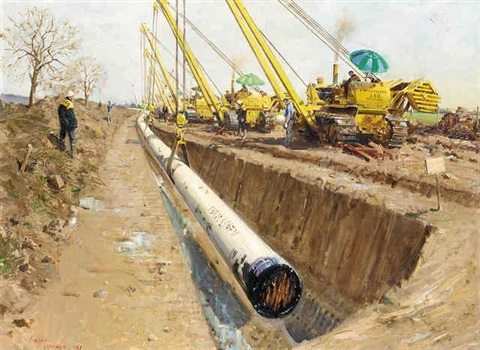 north sea gas pipeline by terence cuneo
