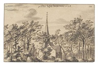 a wooded landscape with a church by valentijn klotz