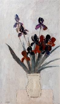 iris au fond gris clair by bernard cathelin