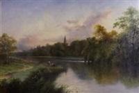 fishermen ona riverb by henry ryland