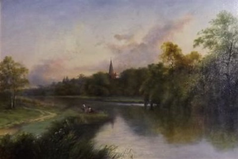fishermen ona riverb by henry ryland