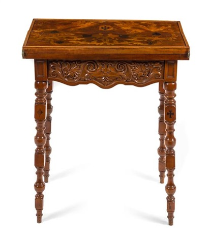 Attirant An Emile Galle Marquetry Fold Over Card Table Height 30 X ...
