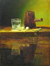 reflective still life after chardin (bicchiere d'acqua e caffettiera) by david bierk