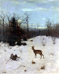 winter landscape with deer by christian haug