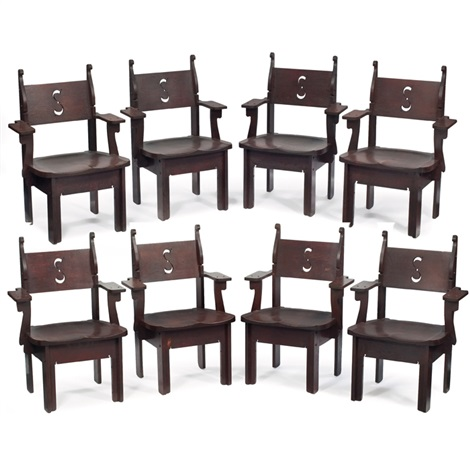 armchairs set of 8 by charles rohlfs