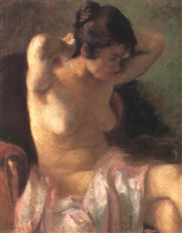 jeune femme se coiffant by zoltán páldy