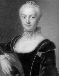 portrait of a lady, wearing a black velvet dress and holding a mask by pierre allais
