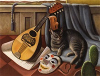 cat with mandolin by edna reindel