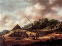 a dune landscape with huts, a draw-well and a wooden cistern by françois van knibbergen