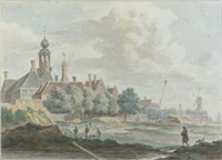 view of a dutch town with a figure strolling with his dog, others working, a windmill and vessels beyond by hendricus spilman