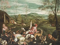 a shepherdess and her flock, with hounds and poultry, a carriage in a landscape beyond by francesco bassano