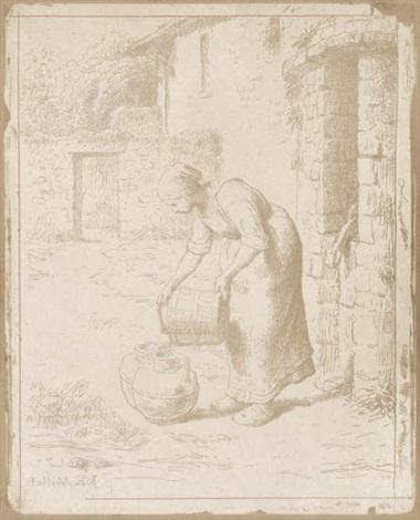 femme vidant un seau by jean françois millet