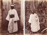 maroc. a negress of tangier. a moorish soldier. femme de tanger. soldat maure. deux by james valentine