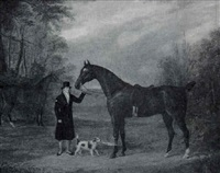 portrait of a gentleman with two bay horses and a terrier in a landscape by westfield webb