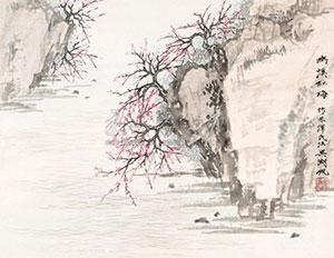 幽溪红梅 by wu hufan