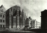 king henry vii's chapel, westminster, from old palace yard by thomas malton the younger