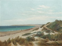 figures on a beach with sand dunes to the foreground by james ashton