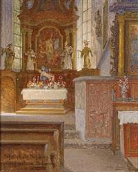 blick auf den altar von st. nikolaus in bad gastein by stefan simony