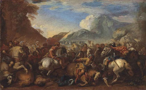 a cavalry battle scene in a mountainous landscape by salvator rosa