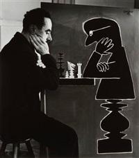 raymond savignac jouant aux échecs avec une de ses oeuvres by robert doisneau