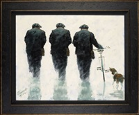 three gadgies with a dog and a bicycle by alexander millar