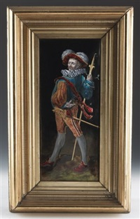 cavalier with sword and staff by limoges