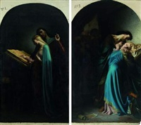 abélard instruisant héloïse (+ abélard et héloïse surpris par fulbert; 2 works) by leon marie joseph billardet