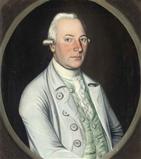portrait of a gentleman in a blue coat and green waistcoat by philip jean