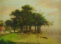 shady oaks at lake pier with fishing party, pink sunset by marie roussel de calcinara