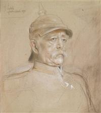 dreiviertelbildnis otto von bismarck in kurassieruniform by franz seraph von lenbach