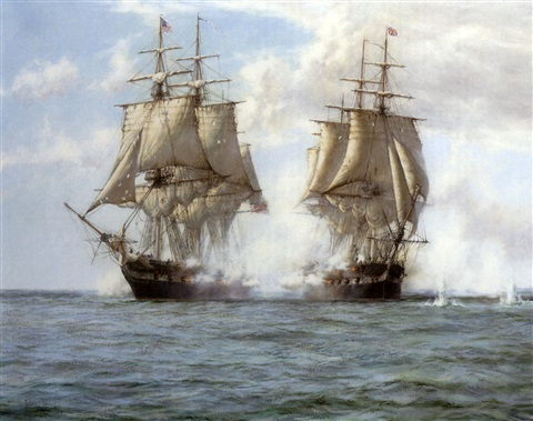 """the action between """"h.m.s. shannon"""" and the """"u.s.s. chesapeake"""", 1st june 1813 by montague dawson"""