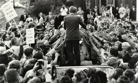 robert f. kennedy, campaign in ithaca, new york and autograph seekers reach for hand of robert f. kennedy (2 works) by bill eppridge