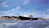 britannia's sail past and farewell to cowes, 7th august 1996 by robert scott