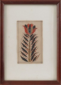 fraktur bookplate of a stylized tulip by jacob oberholtzer