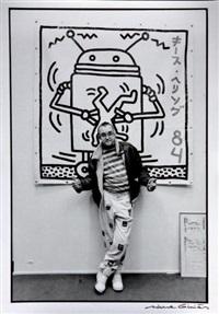 keith haring à la galerie 1900/2000 rue bonaparte, paris, janvier by michel ginies
