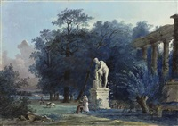 a garden with ruins by antoine pierre mongin