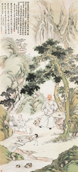 山水人物 立轴 设色纸本 by wu tao and ren yi