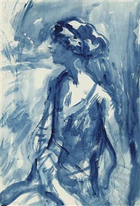 portrait of mrs. john carpenter in blue (study) by ambrose mcevoy