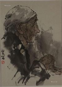 老人 镜片 纸本 by liang yan